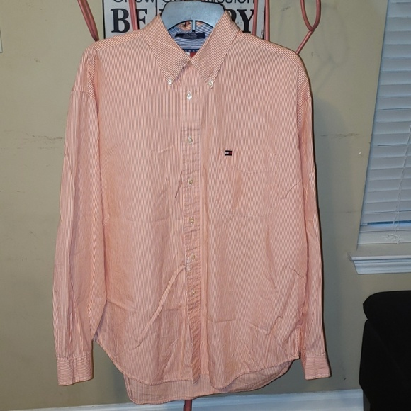 Tommy Hilfiger Other - TH orange and white shirt size L